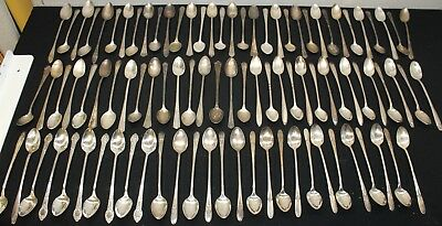 Vintage Silver Plate Flatware Lot of 93  Ice Tea Spoons  Craft Grade  #ITS1