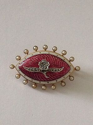 Beautiful Fine Antique 15ct Pink & White Enamel Decorated Diamond & Pearl Brooch