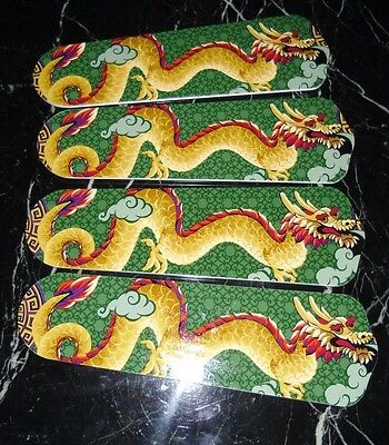 Custom~ Oriental Asian Chinese Japanese Smokey Fire Breathing Dragon Ceiling Fan