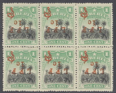 Liberia 1916, 1c LFF on 1c official, BLOCK(6) INVERTED overprints NH $$ #M6c