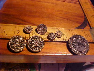 Antique fancy brass victorian buttons sewing antique