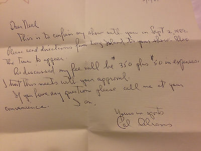 Cal Abrams 1989 Auto Letter Brooklyn Dodgers on Handwritten Letter