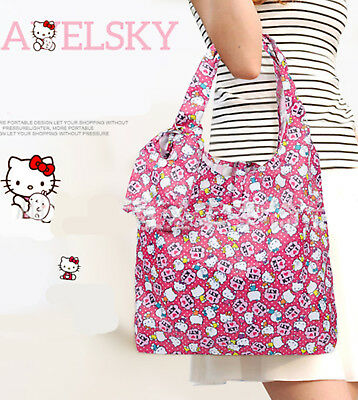 Girls Lady Hello kitty Foldable Grocery Pink Waterproof Shopping Hand Carry Bag