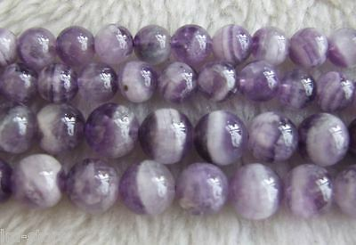 """8mm 10mm Natural Amethyst Round Loose Beads DIY Jewelry Making 15"""""""