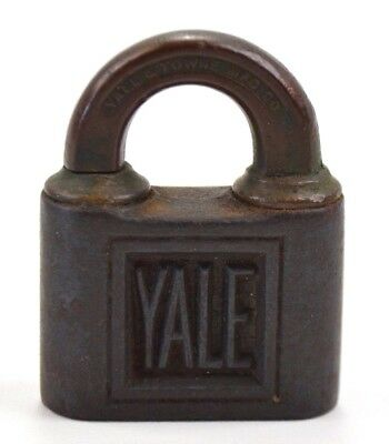 Antique Bronze And Cast Iron Yale And Towne Pin Tumbler Push Padlock