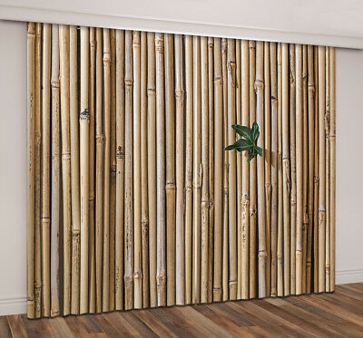 3D Leaf On Bamboo Wall Blockout Photo Print Fabric Window Curtain 2Panel Drapes
