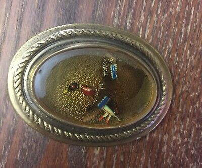 Vintage NOS Brass Metal Large Colorful Encased Flying Bird Oval Belt Buckle