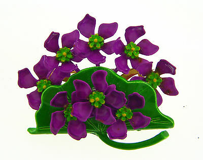 Vintage Bold Color Painted Brass Sculpted Flower Floral Cart Bouquet Garden Pin