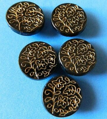 SET Antique Vtg  Buttons Lot 5 LEAF Floral Line design Gold Luster Black Glass