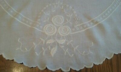 "Lovely Vintage 36"" White Linen Tablecloth ~ White-On-White Hand Embroidery"