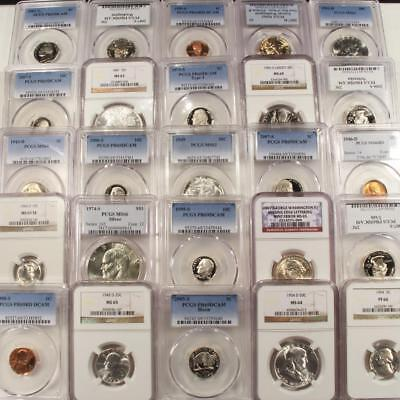 PCGS & NGC Graded Coin Collection 2 Coins With Guaranteed Silver In Every Lot !!