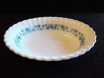 J&G Meakin England Classic White Alpine Mist Blue Flowers Oval Vegetable Bowl
