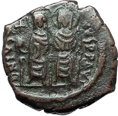 JUSTIN II &  Sophia 565AD Half Follis Thessalonica Ancient Byzantine Coin i66094