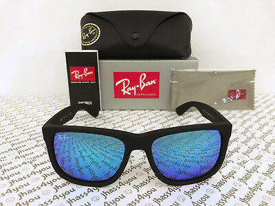 Ray-Ban Justin RB4165 622/55 Wayfarer Sunglasses/Matte Black/Blue Mirror 54mm