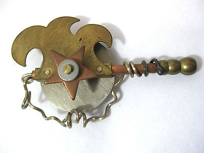 Vintage Rare Multi-Metals Steam Punk Brooch Pin Signed  * BETH PIVER late 90's