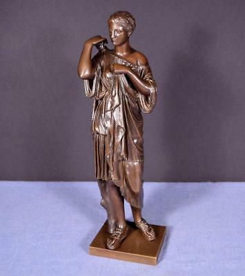 French Antique Greek Revival Bronze Sculpture of a Woman
