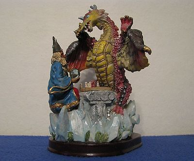 Mythical Merlin The Wizard With Globe & Sitting Dragon Figure Playing Board Game