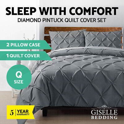 Giselle Bedding Pinch Pleat Diamond Duvet Doona Queen Quilt Cover Set Charcoal