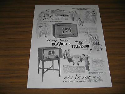 1949 Print Ad RCA Victor Televisions Onlooker & Sightseer TV Sets