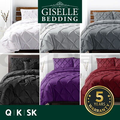Giselle Bedding Pinch Pleat Diamond Pintuck Duvet Doona Quilt Cover Set All Size