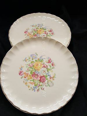LOT antique 4pc W.S. GEORGE BOLERO china DINNER PLATES floral gold trim 9.25""