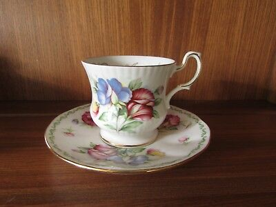 Queens/Rosina China Flower of the Month April Sweet Pea Miniature Cup & Saucer