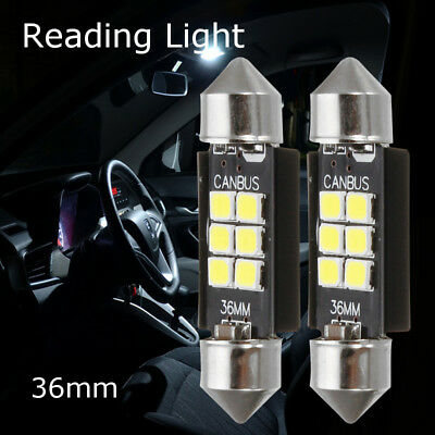 2x 36MM 6-LED 5050 SMD C5W CANBUS Error Free Soffitte Innenraumbeleuchtung Weiß
