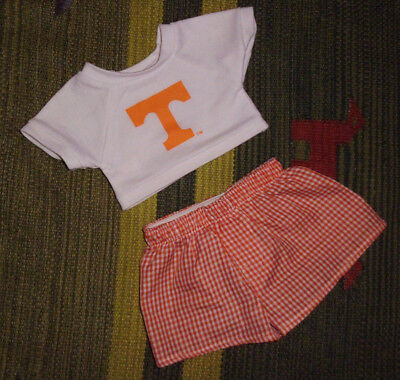 Build a Bear Workshop plush toy outfit 2pc tee shorts orange T Tennessee Go Vols