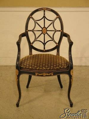 42934: French Louis XVI Style Black & Gold Webbed Back Arm Chair