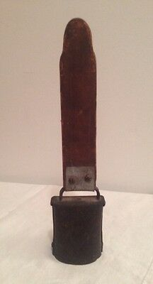 Antique Primitive Early 1900 Hand Forged Cow Bell W/wood Handle Unique Folk Art!