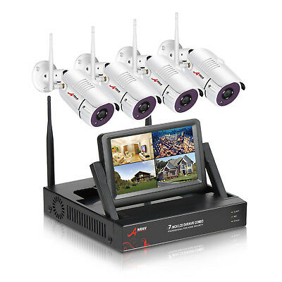 """Wireless Security System 4Pcs IP Camera with 7"""" Monitor Home Surveillance Kits"""