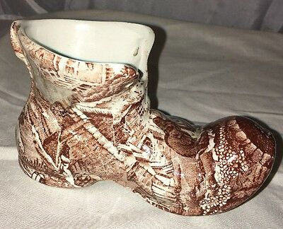 Old Foley James Kent Staffordshire Brown Cream Transferware Shoe