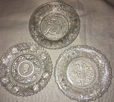 Vintage Sandwich Glass Lacy Glass Coasters Henry Clay Eagle Hearts Harps EAPG