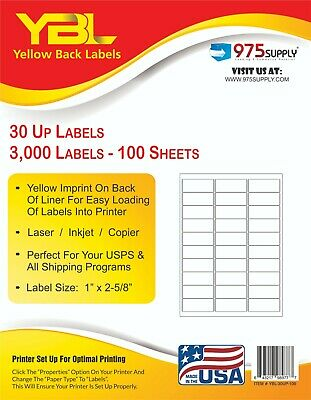 "YBL 1"" x 2 5/8"" Mailing Labels 3,000 pk Laser or Inkjet  30 Up Yellow Backing"