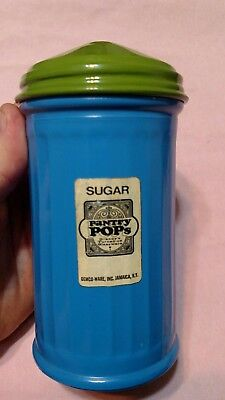 GEMCO Pantry Pops blue GLASS SUGAR SHAKER  with green lid