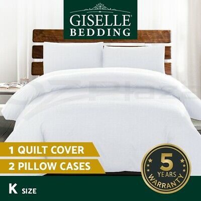 Giselle Bedding Luxury Classic Bed Duvet Doona Quilt Cover Set Hotel King White
