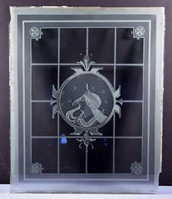 *Antique French Etched Glass Window or Panel with Alphonse Mucha Imagery