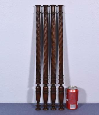 "*Set of Four 22"" French Antique Solid Walnut Posts/Pillars/Columns/Balusters"