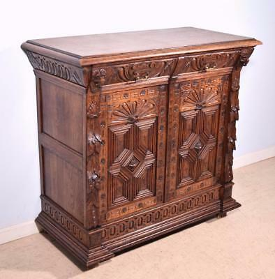 *French Renaissance Revival Antique Buffet Sideboard Console in Oak w/Lions