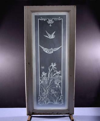 *Antique French Etched Glass Window/Door or Panel with Flowers and Swans 1
