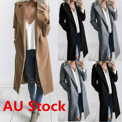 Plus Size Women Winter Warm Lapel Long Trench Coat Parka Jacket Overcoat Outwear