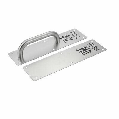 300mmx80mmx60mm Stainless Steel Polished Pull Door Handle w Push Plate