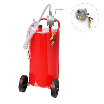 Portable 35 Gallon Gas Can Fuel Caddy  Diesel Fluid Transfer Tank w/ Pump Hose