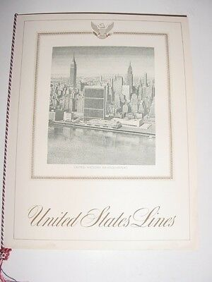 SS UNITED STATES LINES  August 11, 1952 Dinner Menu + (12) Luggage Stickers