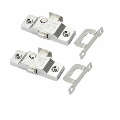 13mm Tongue Spring Bolt Latch Door Window Lock w Right Angle Plate 2pcs