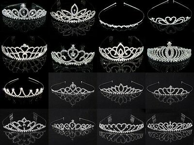 Pageant Wedding Bridal Crown Crystal Rhinestone Princess Silver Jewelry Tiara