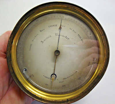 Antique brass cased wall barometer