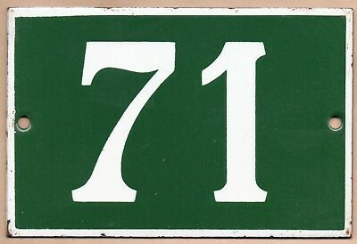 Old green French house number 71 door gate plate plaque enamel steel metal sign