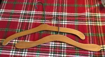Coat Clothes Hangers Two (2) Wooden Curved Vintage