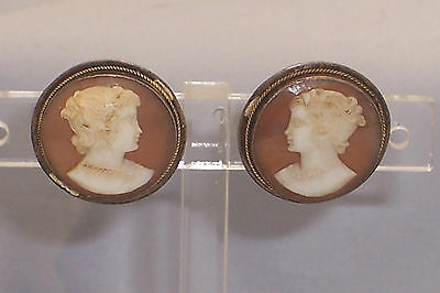 Nice Old Pair of Large Round Screw Back Cameo Earrings Set in Silver Bezel